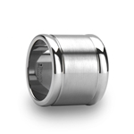 ALBUQUERQUE Brushed Finish Center Flat Tungsten Carbide Ring with Polished Edges - 20mm