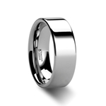STOCKTON Flat Style White Tungsten Ring - 2mm - 12mm