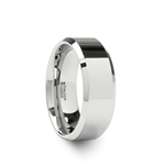 LINCOLN White Tungsten Wedding Band with Beveled Edges - 4mm - 12mm