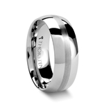HENDERSON Domed White Tungsten Ring with Satin Stripe - 4mm - 8mm