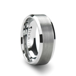 PETERSBURG White Tungsten Carbide Ring with  Brushed Center and Beveled Edges - 4mm - 10mm