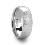CHANDLER Hammered Finish Domed White Tungsten Ring - 6mm & 8mm