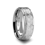 WINSTON White Tungsten Ring with Hammered Finish - 8mm