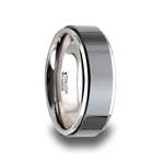 OAKLAND Tungsten Carbide Ring with Raised Black Brushed Ceramic Center - 8 mm