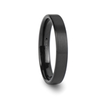 PROVIDENCE Black Flat Style Tungsten Ring with Brushed Finish - 4mm
