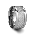 ROCKFORD Tungsten Carbide Ring with White Carbon Fiber Inlay - 12mm