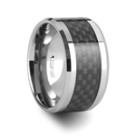 PATERSON Tungsten Carbide Ring with Black Carbon Fiber Inlaiy  - 12mm