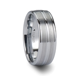 VANCOUVER Triple Grooved White Tungsten Carbide Ring - 8mm