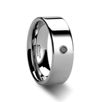 KNOXVILLE Flat Style Polished Tungsten Black Diamond Ring - 6mm & 8mm