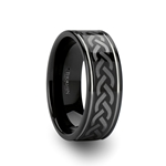 KILMORE Celtic Pattern Black Tungsten Carbide Ring - 8mm