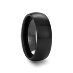 ATTOR Domed Brush Finished Black Ceramic Wedding Band - 4mm - 12mm