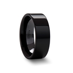 FRAENER Flat Polish Finished Black Ceramic Wedding Ring - 2mm - 12mm