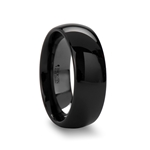LANDON Domed Polish Finished Black Ceramic Ring - 4mm - 12mm