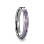 IRIS Beveled Tungsten Carbide Ring with Purple Carbon Fiber Inlay - 4mm & 6mm