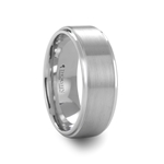 ORLOFF White Tungsten Carbide Ring with Raised Brush Finished Center - 6mm - 8mm