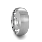 PYTHIUS Domed Brush Finished White Tungsten Ring - 8mm