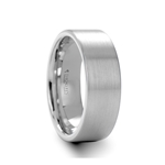 MASON Flat Brush Finished White Tungsten Wedding Ring - 4mm - 8mm