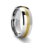 CENTURION Rounded Tungsten Carbide Ring with Gold Inlaid - 8mm