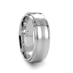 ADAIR Brushed Stripe White Tungsten Carbide Ring with Raised Center - 8mm