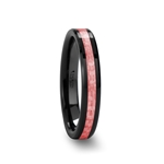ROSA Beveled Black Ceramic Ring with Pink Carbon Fiber Inlay - 4mm & 6mm