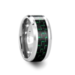 AETIUS Tungsten Carbide Ring with Black & Green Carbon Fiber Inlay - 10mm