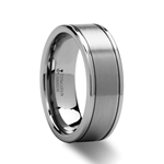 BRIDGEPORT Pipe Cut Brush Finish Tungsten Carbide Ring - 6mm - 10mm