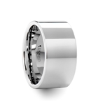 SUTTON 12 mm Flat White Tungsten Wedding Band with Polished Finish