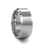 LAWTON Beveled White Tungsten Carbide Ring - 10mm