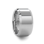LICHFIELD 12 mm White Tungsten Wedding Band with Beveled Edges and Polished Finish