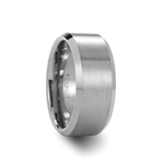 SHIPTON 10mm Beveled Tungsten Carbide Ring with Brushed Center