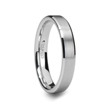 SAIRA Beveled White Tungsten Carbide Ring with Brushed Center - 4mm & 6mm
