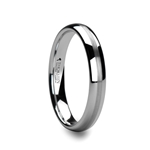 HELEN 4mm Rounded White Tungsten Carbide Ring with Brushed Center Stripe