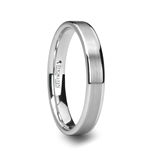 MONET  Flat Brushed Center White Tungsten Carbide Ring - 4mm