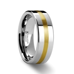 HARRISBURG Gold Inlaid Flat Tungsten Ring - 8mm