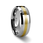 LEGIONAIRE Gold Inlaid Beveled Tungsten Ring 8mm