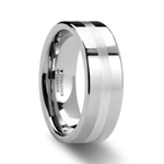 GEMINI Pipe Cut Tungsten Carbide Ring with Silver Inlaid - 8mm