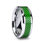 VERMONT Tungsten Wedding Band with Emerald Green Carbon Fiber Inlay - 8mm