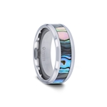 MAUI Tungsten Carbide Ring with Mother of Pearl Inlay - 4mm - 10 mm