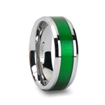 VARDON Tungsten Carbide Ring with Textured Green Inlay - 8mm