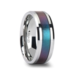 STINGRAY Tungsten Carbide Ring with Blue/Purple Color Changing Inlay - 8mm