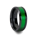 IRVING Black Ceramic Ring with Textured Green Inlay and Beveled Edges - 8mm