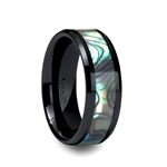 OAHU Black Ceramic Ring with Shell Inlay and Beveled Edges - 8mm