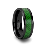MATLAL Beveled Black Ceramic Ring with Emerald Green Carbon Fiber Inlay - 8mm