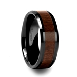YUKON Black Ceramic Ring with Black Walnut Wood Inlay and Beveled Edges - 4mm - 12mm