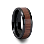 DENALI Black Ceramic Carbide Ring with Bevels and Rosewood Inlay - 4mm- 12mm