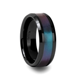 BARRACUDA Beveled Black Ceramic Ring with Blue/Purple Color Changing Inlay - 6mm - 10mm