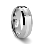 VECTOR Silver Inlaid Beveled Tungsten Ring - 6mm & 8mm