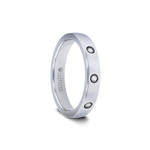 ISABELLA Rounded White Tungsten Carbide Ring with 3 Diamonds - 4 mm