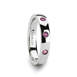 DIANA Rounded White Tungsten Wedding Band with 3 Pink Sapphires - 4 mm