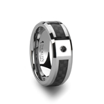 BENTLEY Tungsten Carbide Ring with Black Carbon Fiber and Black Diamond - 8mm
